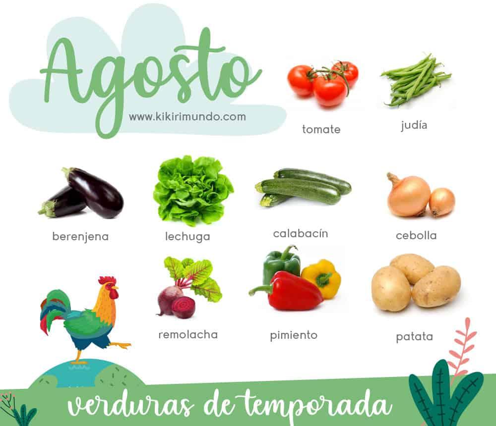 Hacemos un repaso a las frutas y verduras de temporadas propias del mes de agosto. Para llevar una alimentación sana y respetuosa con el medio ambiente.